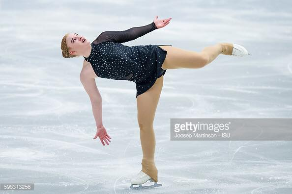 Agnes Dís Brynjarsdóttir skating in junior grand prix